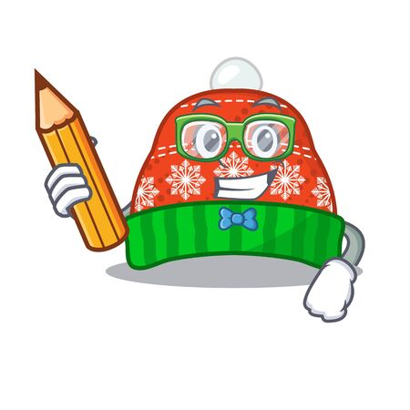 Student winter hat in the mascot shape vector illustration