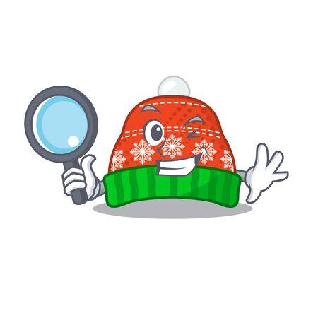 Detective winter hat in the mascot shape vector illustration Illustration
