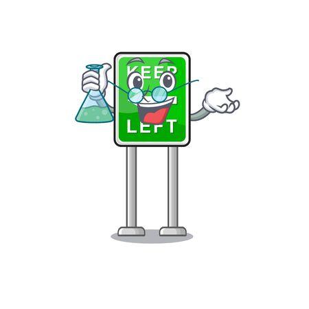 Professor Keep left cartoon isolated the mascot vector illustration Çizim