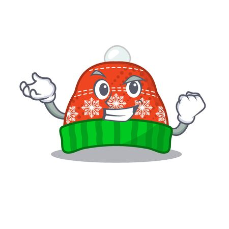 Successful winter hat in the mascot shape vector illustration