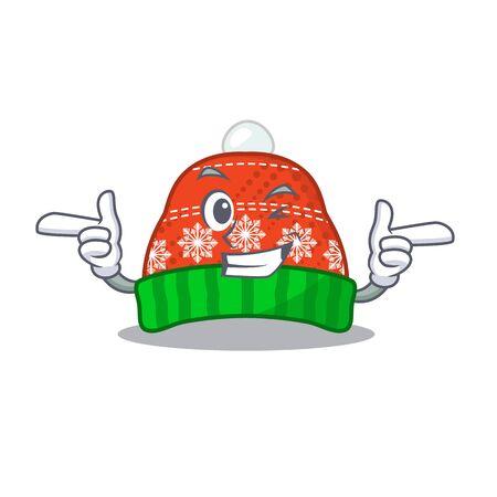 Wink winter hat in the mascot shape vector illustration Illustration