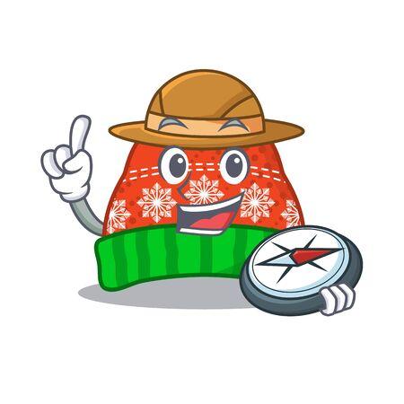 Explorer winter hat in a cartoon bag vector illustration