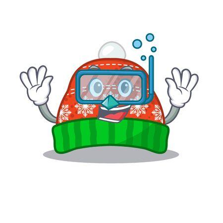 Diving winter hat in the mascot shape vector illustration Illustration