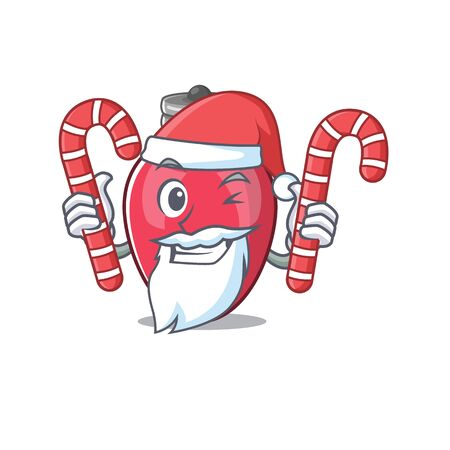 Santa with candy christmas lights against the cartoon wall Illustration