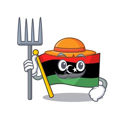 Farmer flag libya mascot shaped on character