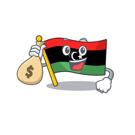 With money bag flag libya mascot shaped on character vector illustration Illustration