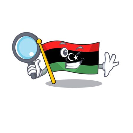 Detective flag libya cartoon isolated the mascot vector illustration