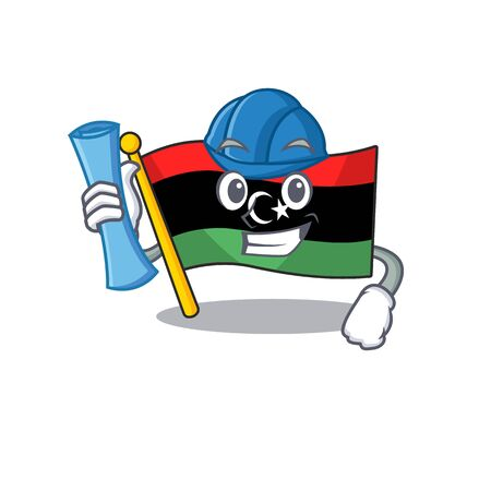 Architect flag libya cartoon isolated the mascot vector illustration