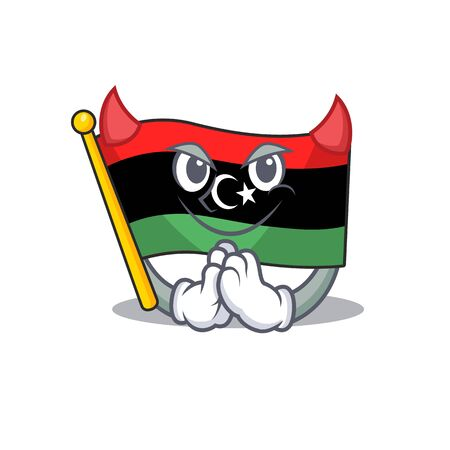 Devil flag libya is flying cartoon pole