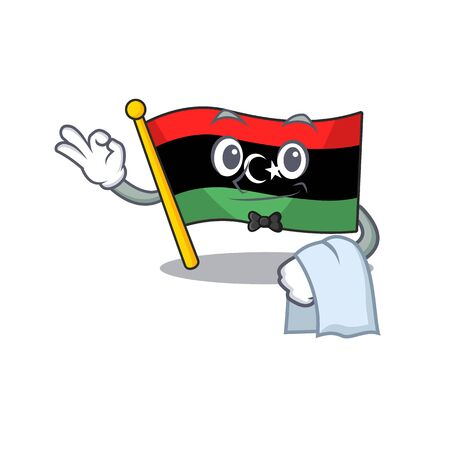 Waiter flag libya is flying cartoon pole