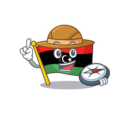 Explorer flag libya is flying cartoon pole