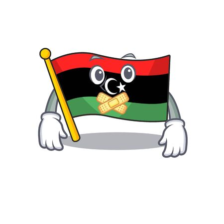 Silent flag libya clings to mascot wall Illustration