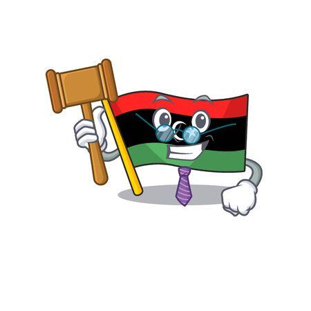 Judge flag libya clings to mascot wall
