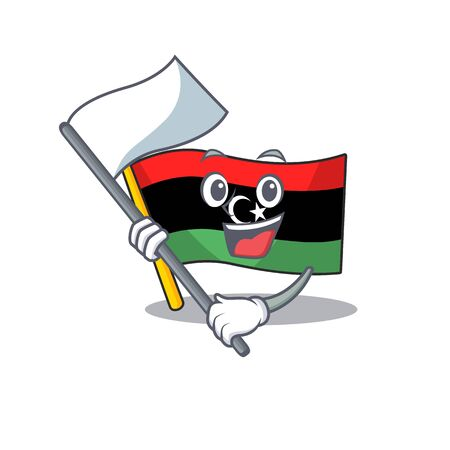 With flag flag libya clings to mascot wall Illustration