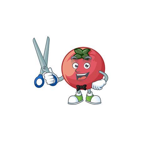 Barber fresh velvet apple in cartoon mascot vector illustration