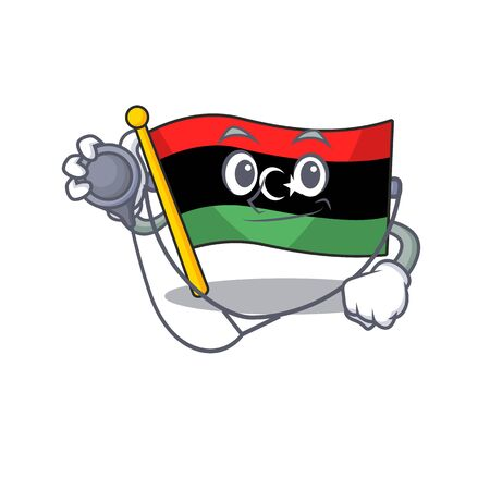 Doctor flag libya mascot shaped on character Illustration