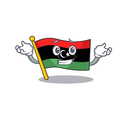 Grinning flag libya cartoon isolated the mascot