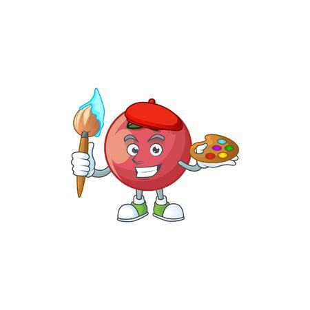 Painter fresh velvet apple in cartoon mascot vector illustration Stock Illustratie