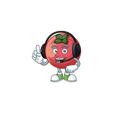 With headphone velvet apple mascot on white background.