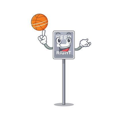 With basketball keep right with the mascot shape vector illustration
