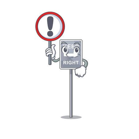 With sign keep right with the mascot shape vector illustration