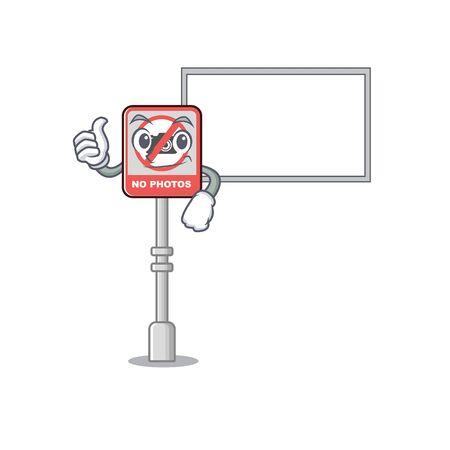 Thumbs up with board no camera stuck to cartoon door vector illustration