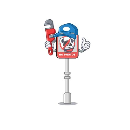 Plumber no camera on edge mascot road vector illustration 向量圖像