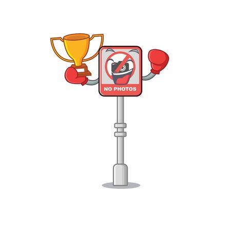 Boxing winner no camera on edge mascot road vector illustration