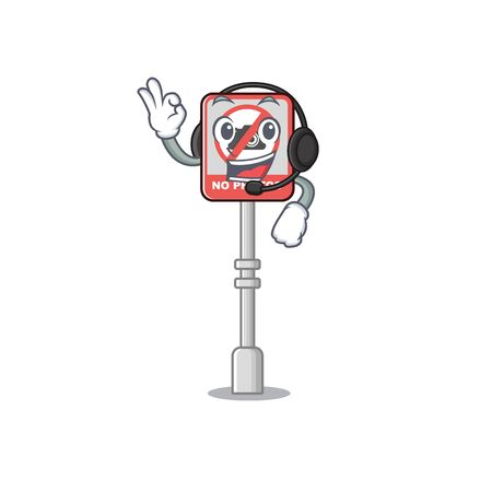 With headphone no camera on edge mascot road vector illustration