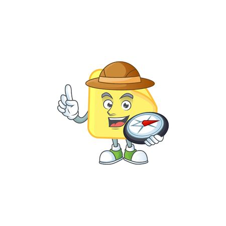 Explorer rounded sticker paper cartoon character style.  イラスト・ベクター素材