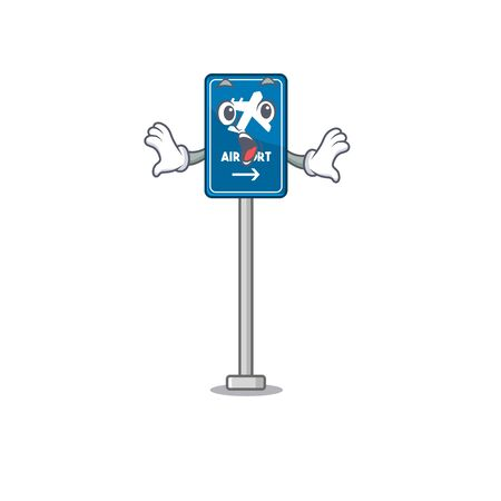 Surprised airport sign in the character shape