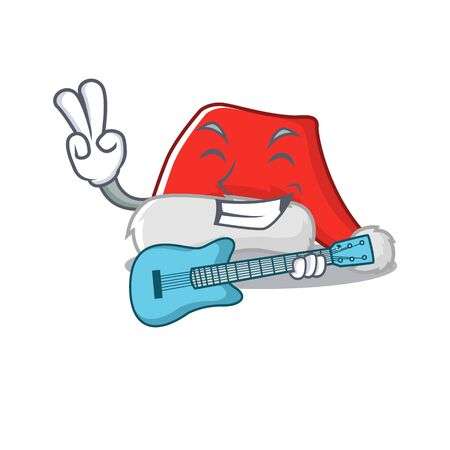 With guitar santa hat character shaped in cartoon Illustration