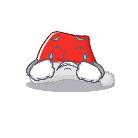 Crying santa hat character shaped in cartoon