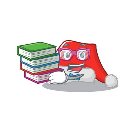 Student with book santa hat folds over character drawer Illustration
