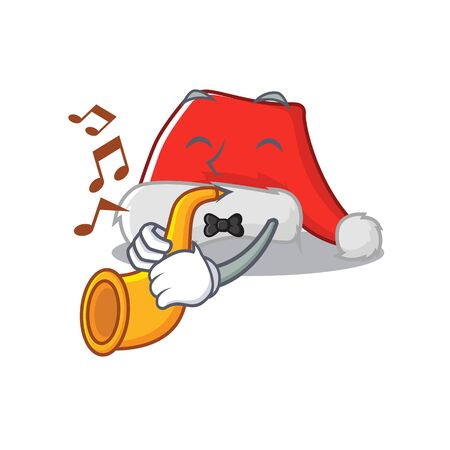 With trumpet santa hat character shaped in cartoon