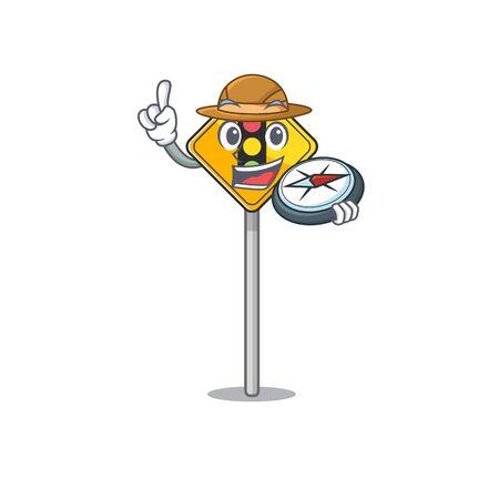Explorer traffic light ahead in shape mascot vector illustration