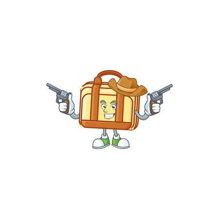 Cowboy work suitcase cartoon for materials work vector illustration