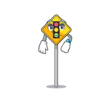 Waiting traffic light ahead on roadside characters Ilustrace