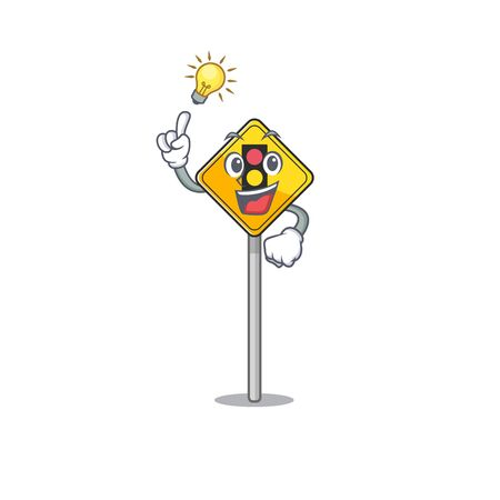 Have an idea traffic light ahead on roadside characters vector illustration
