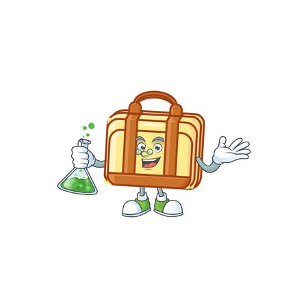 Professor work suitcase cartoon for equipment office. vector illustration