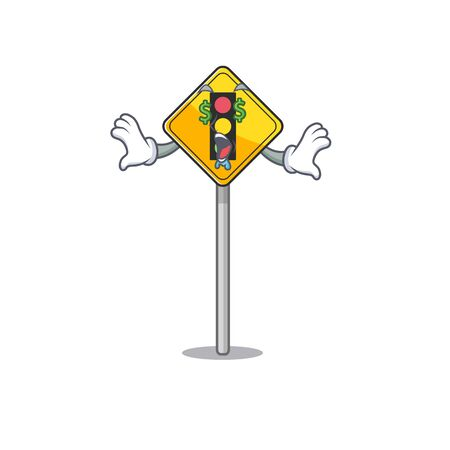 Money eye traffic light ahead on roadside characters vector illustration