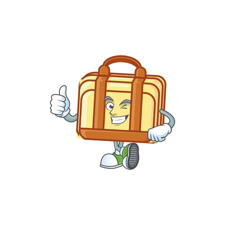 Thumbs up work suitcase cartoon for equipment office. vector illustration