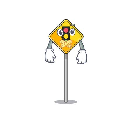 Silent traffic light ahead on roadside characters
