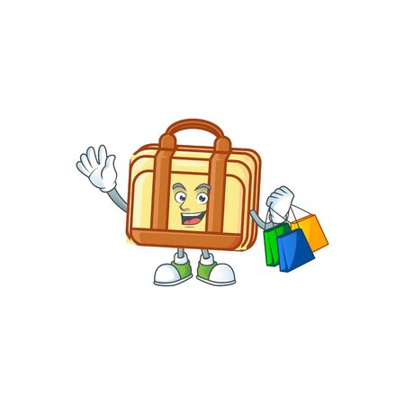 Shopping work suitcase cartoon for equipment office. vector illustration