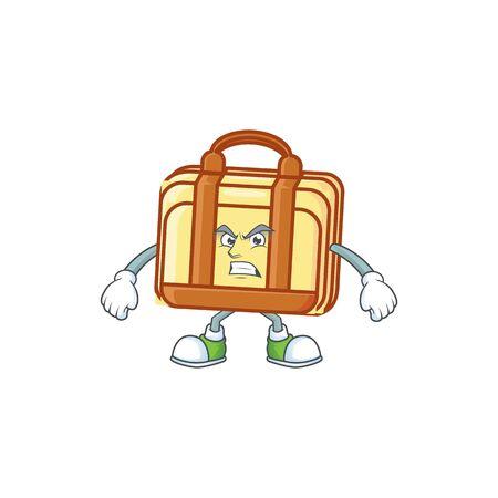 Scream work suitcase cartoon for equipment office. vector illustration