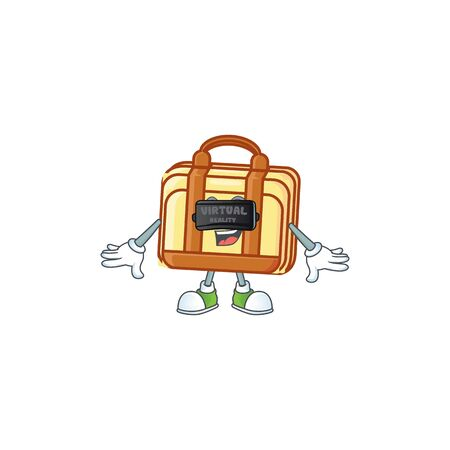 Virtual reality work suitcase cartoon character with mascot vector illustration Illustration