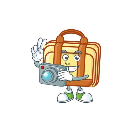 Photographer work suitcase cartoon character with mascot vector illustration