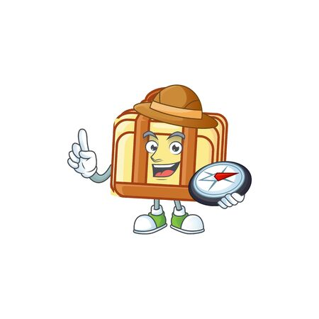 Explorer work suitcase cartoon character with mascot vector illustration