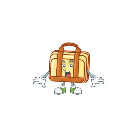 Surprised work suitcase cartoon character with mascot vector illustration Illusztráció