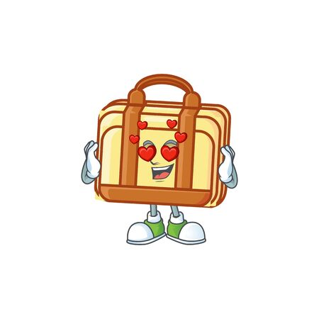 In love work suitcase cartoon character with mascot vector illustration